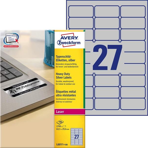 AVERY Zweckform L6011-100 Typenschild Folienetiketten 2.700 Aufkleber auf 100 Blatt silber, 99,1 x 6