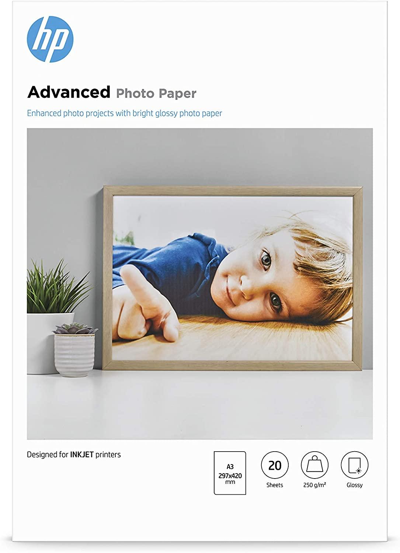 HP Advanced-Fotopapier hochglänzend Q8697A 250 g/m², DIN A3, 20 Blatt
