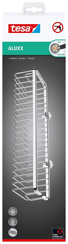 Tesa Aluxx Duschkorb Gr. L (ohne Bohren, extra breit (45cm), Aluminium, verchromt, rostfrei, inkl. K