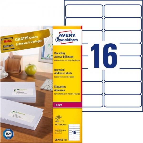 AVERY Zweckform LR7162-100 Recycling Etiketten (1.600 Adressaufkleber, 99,1x33,9mm auf A4, 100% recy