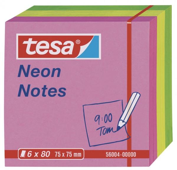 tesa Neon Notes, 6 x 80 Blatt, pink / gelb / grün 75mm x 75mm