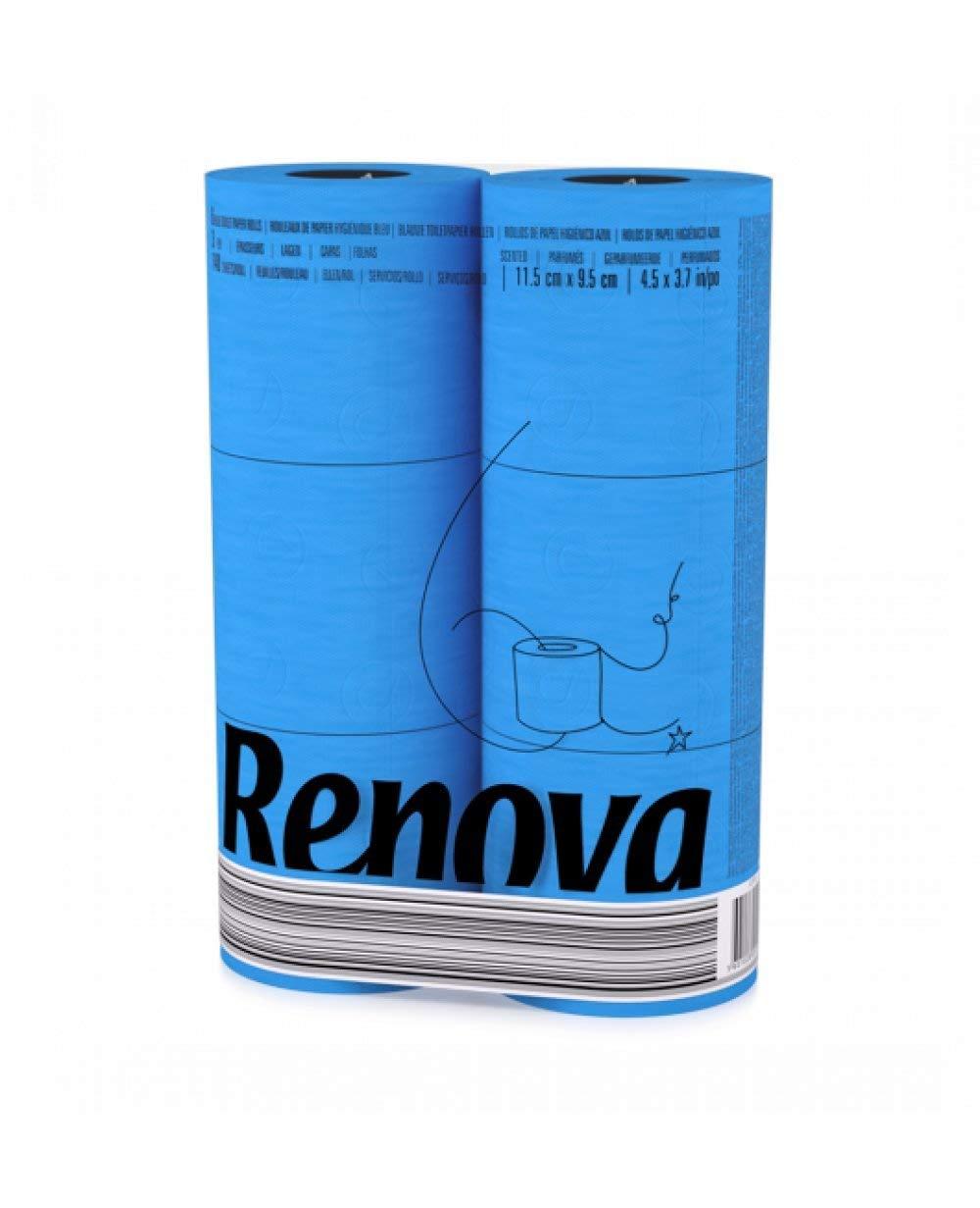 RENOVA Blaues Toilettenpapier - BLAU in Folie 6 Rollen