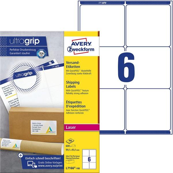 AVERY Zweckform L7166-100 Versandetiketten/Versandaufkleber (600 Etiketten mit ultragrip, 99,1x93,1m