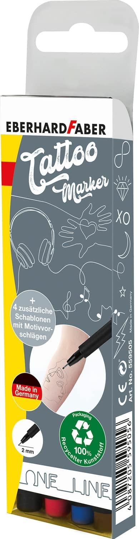 Eberhard Faber 559505 - Tattoostifte Set One Line mit 4 Markern in unterschiedlichen Farben und 4 Sc