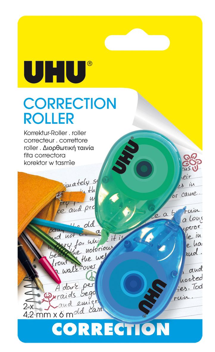 UHU CORRECTION Roller Mini Color 2x Korrektur Roller, Infokarte 2x4,2mmx6mm
