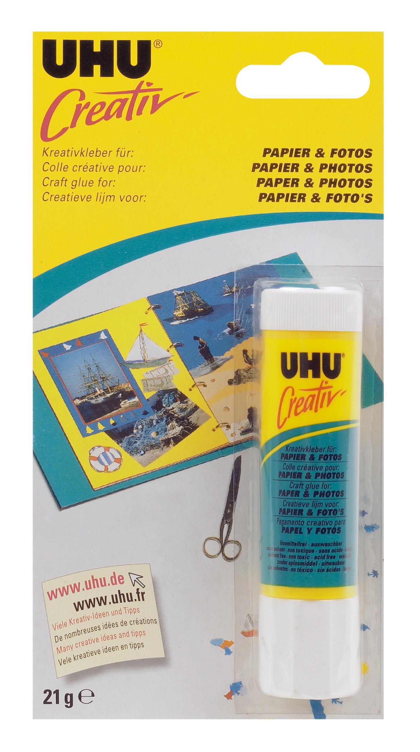 UHU Creativ' - Spezialkleber für PAPIER&FOTOS - Klebestift, Infokarte 21g
