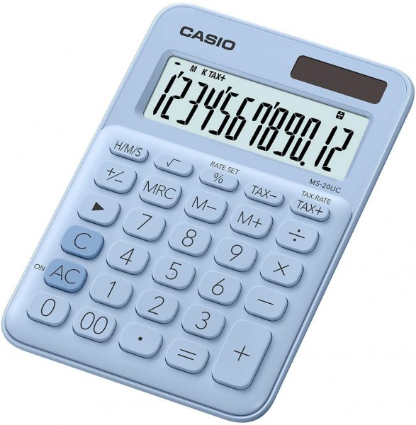 Casio MS-20UC-LB Tischrechner, 12-stellig, in zehn Farbvarianten - Hellblau