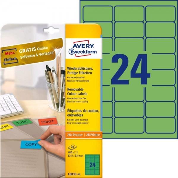 AVERY Zweckform L6033-20 Grüne Etiketten (480 Aufkleber, 63,5x33,9mm auf A4, wieder rückstandsfrei a