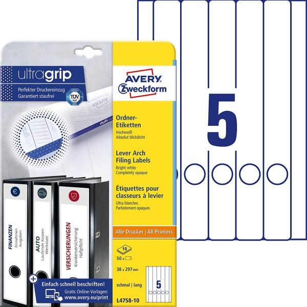 AVERY Zweckform L4758-10 Ordnerrücken Etiketten (mit ultragrip, 38 x 297 mm auf DIN A4, schmal/lang,