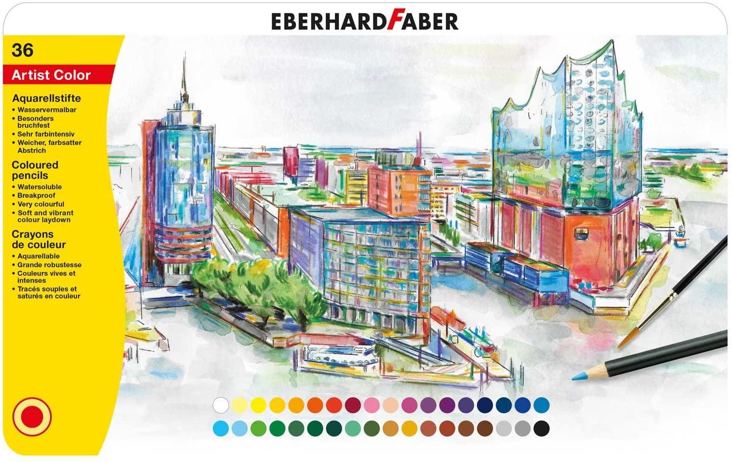 Eberhard Faber 516036 - Artist Color Aquarellfarbstifte in 36 Farben, runde Form, mit bruchsicherer