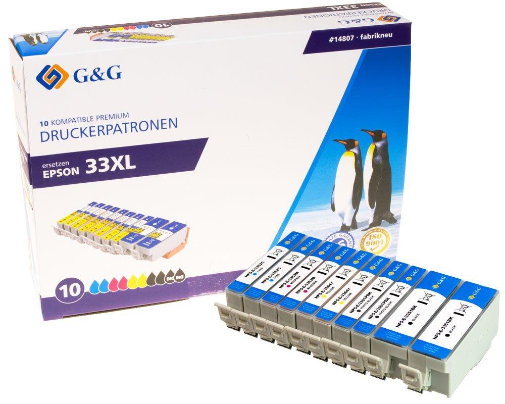 Vorschau: G&G Tinte ersetzt Epson 33XL, T3351, T3361, T3362, T3363, T3364, T3357 Kompatibel 10er-Pack Schwarz,