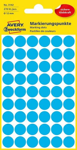 AVERY Zweckform 3142 selbstklebende Markierungspunkte 270 Stück (Ø12mm, Klebepunkte auf 5 Bogen, Pun