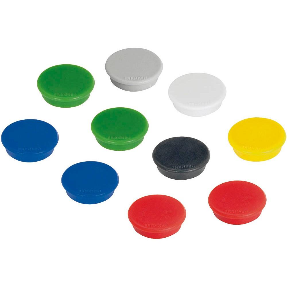 10 FRANKEN Haftmagnet Magnet farbsortiert Ø 2,4 x 0,63 cm