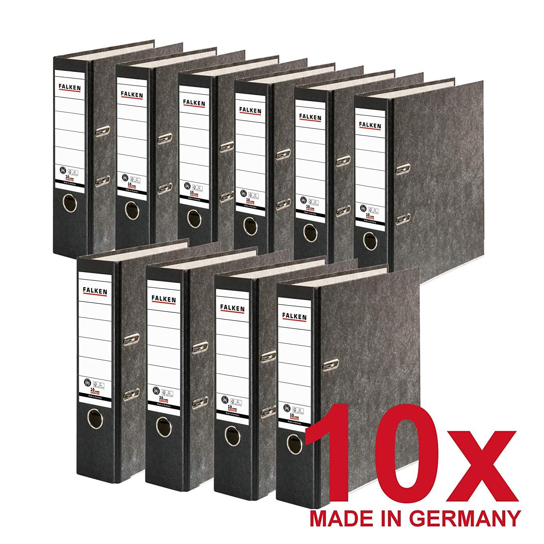 10x FALKEN Recycling Ordner DIN-A4, 8cm Wolkenmarmor schwarzer Rücken Ringordner Aktenordner Briefor