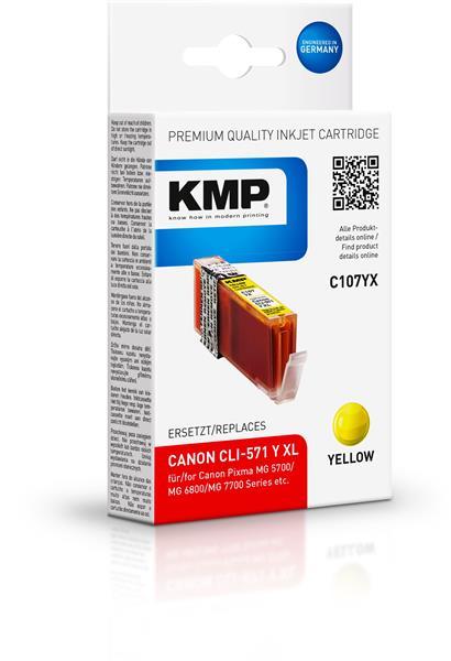 KMP Patrone C107YX komp. CLI571YXL für Canon Pixma MG 5700 yellow