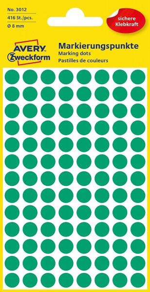 AVERY Zweckform 3012 selbstklebende Markierungspunkte 416 Stück (Ø8mm, Klebepunkte auf 4 Bogen, Punk