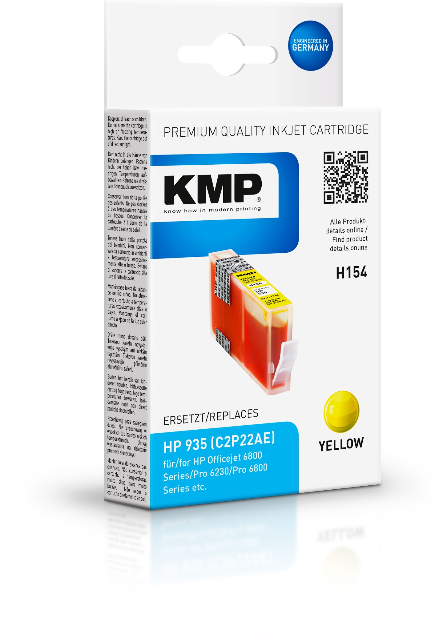 KMP Patrone H154 für C2P22AE HP935 Officejet 6800 etc. yellow