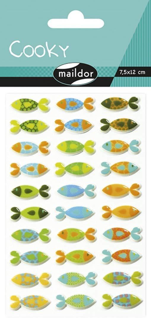Maildor CY013O FISCH Packung mit Stickers Cooky 3D (1 Bogen, 7,5 x 12 cm, ideal zum Dekorieren, Samm