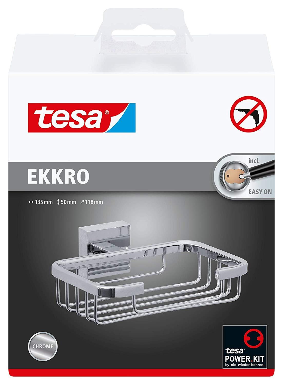 Tesa ekkro Seifenablage (NICHT BOHREN hochglanzverchromt, inkl. Klebelösung, hohe Haltekraft (bis 6k