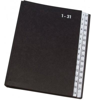 Q-Connect Pultordner Hartpappe - 1 - 31, 32 Fächer, Farbe schwarz