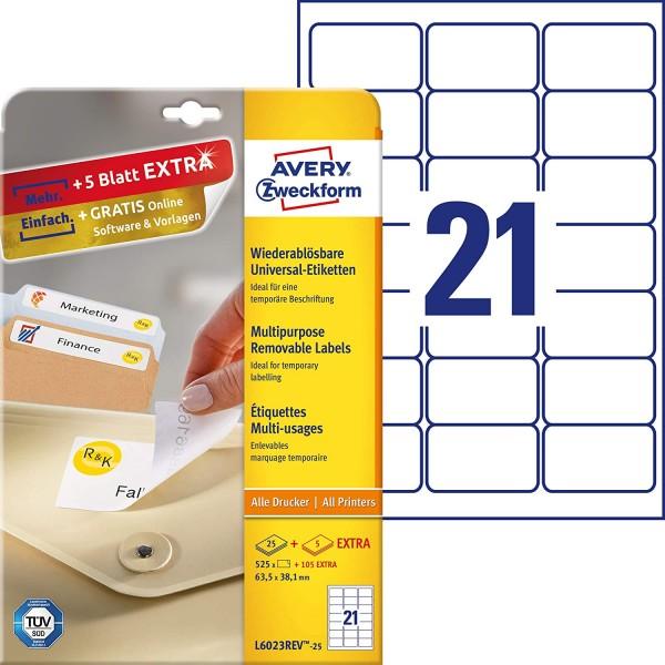 AVERY Zweckform L6023REV-25 Universal Etiketten (525 plus 105 Klebeetiketten extra, 63,5x38,1mm auf