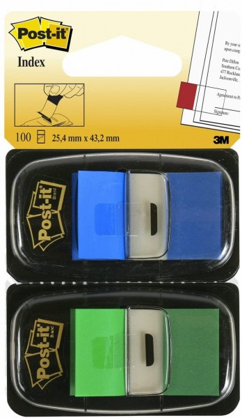 Post-it I680-GB2 Haftstreifen Index Standard, 2 x 50 Haftstreifen im Spender, 25,4 x 43,2 mm, blau,