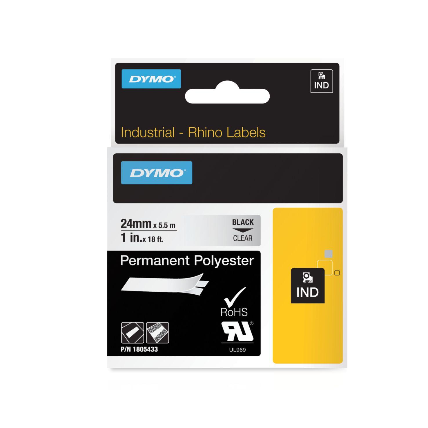 Dymo Rhino-Schriftband Polyester 24mm x 5,5m schwarz auf transparent