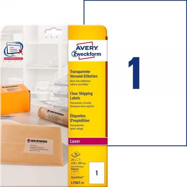 AVERY Zweckform L7567-25 Versand-Etiketten (A4, 25 Stück, 210 x 297 mm, 25 Blatt) transparent