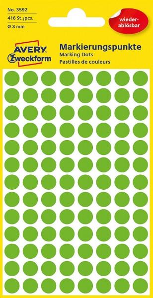 AVERY Zweckform 3592 selbstklebende Markierungspunkte 416 Stück (Ø 8mm, ablösbare Klebepunkte auf 4