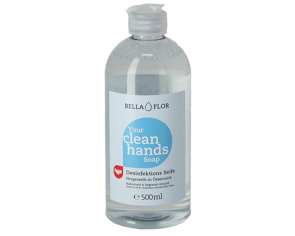 Bella Flor Hand-Desinfektionsseife - 500 ml - Biozidprodukt - entfernt 99,9 % Bakterien und behüllte