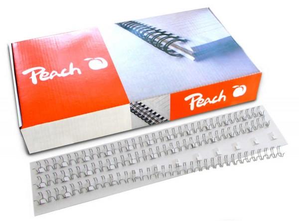 Peach PW095-01 Drahtbinderücken DIN A4, 10 mm, 75 Blatt, 100 Stück, silber