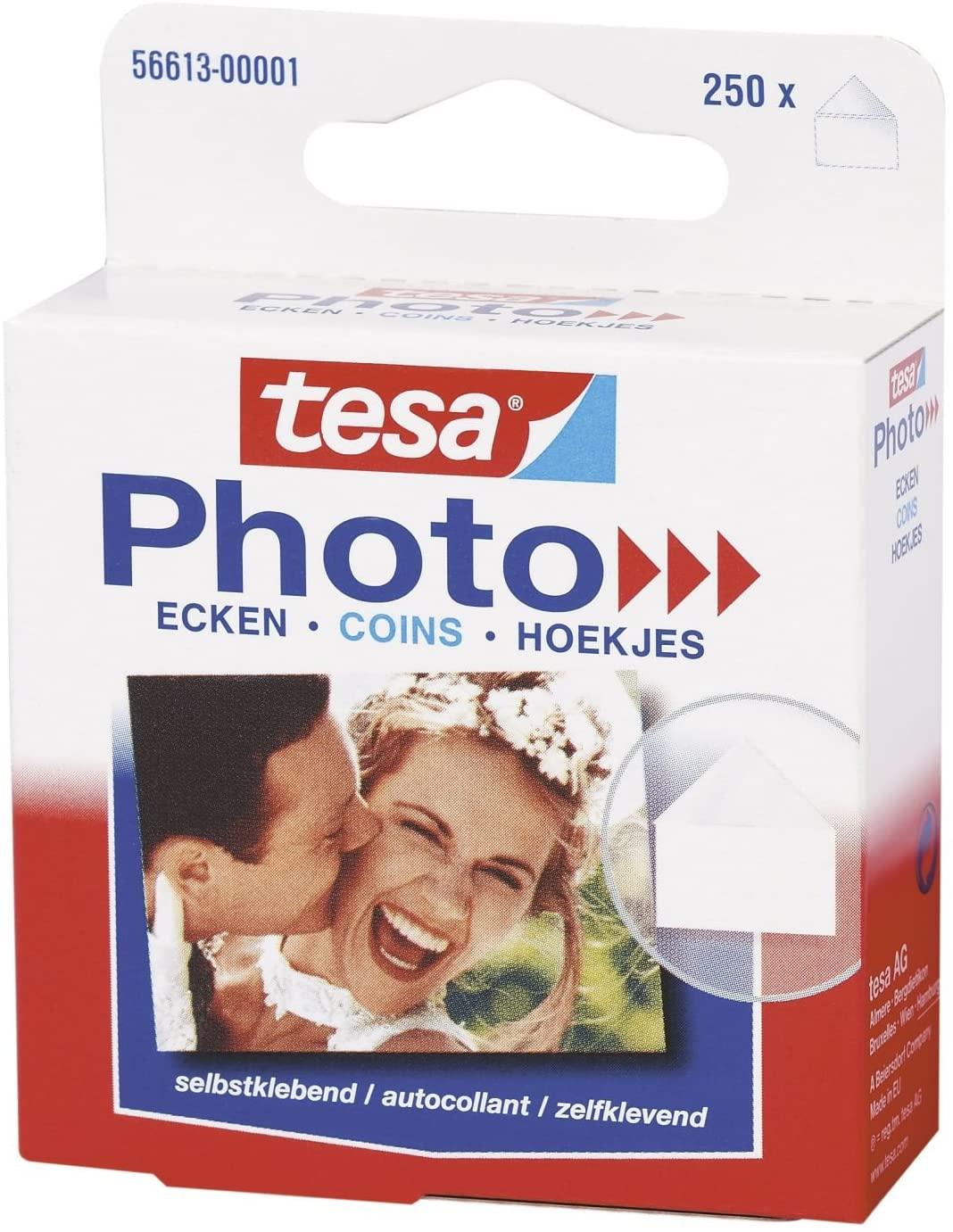 tesa Photo Ecken, Fotoecken Packung mit 250 Stück 56613-00001