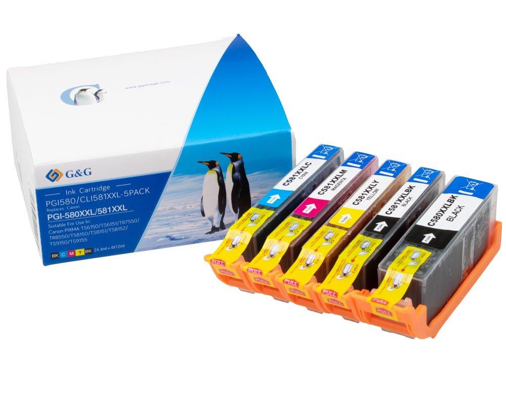G&G Image XXL-Druckerpatronen kompatibel zu Canon PGI-580XXL / CLI-581XXL cyan, magenta, gelb, schwa