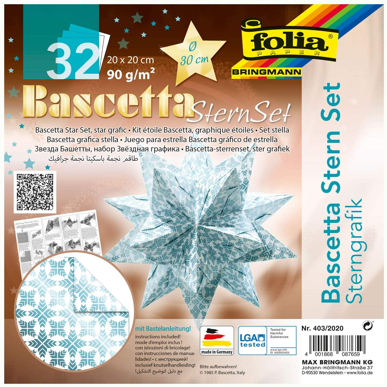 folia 403/2020 - Bastelset Bascetta Stern Sterngrafik weiß/eisblau, 32 Blatt, 20 x 20 cm, fertige Gr
