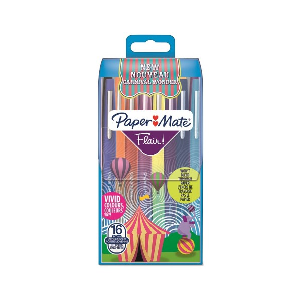 Paper Mate Flair Carnival Wonder Filzstifte, mittlere Spitze, 16er-Packung, farblich sortiert