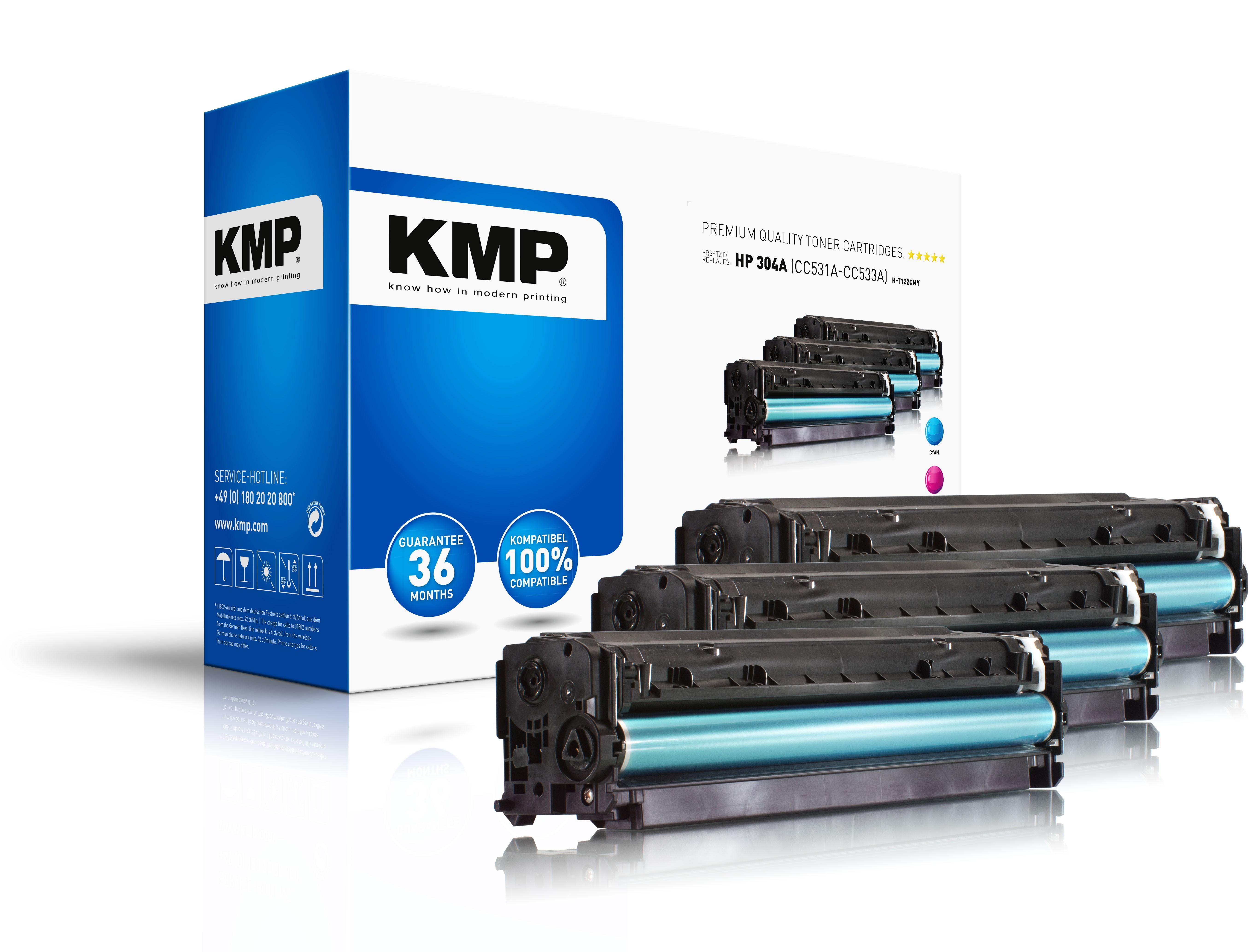 KMP Mulitpack Toner H-T122CMY für HP 304A (CC531A, CC533A, CC532A) LaserJet Pro CM2320 etc. cyan, ma