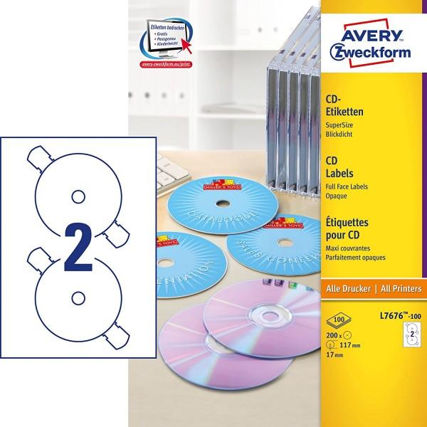 AVERY Zweckform L7676-100 selbstklebende CD-Etiketten (200 blickdichte CD-Aufkleber, Ø 117mm auf A4,