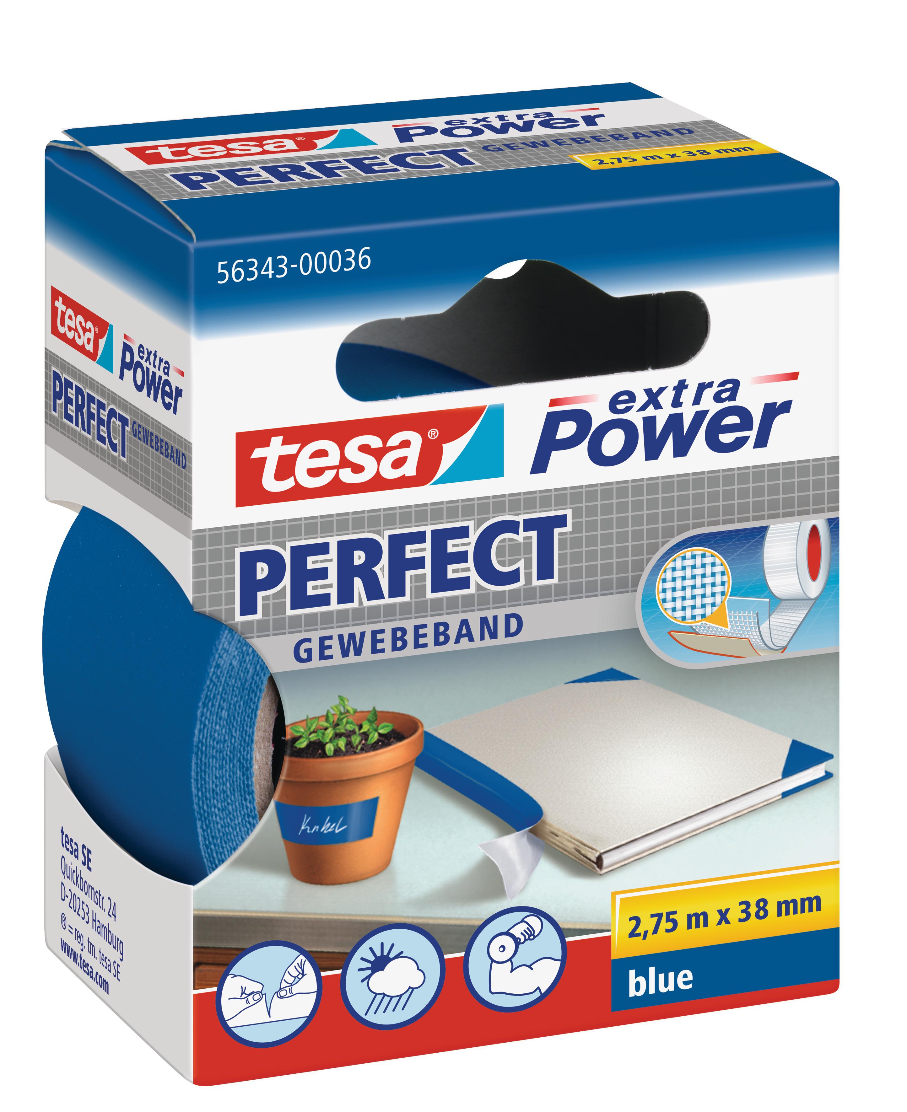 Vorschau: GP: 1,45 EUR/m tesa extra Power Perfect Gewebeband blau 2,75m x 38mm