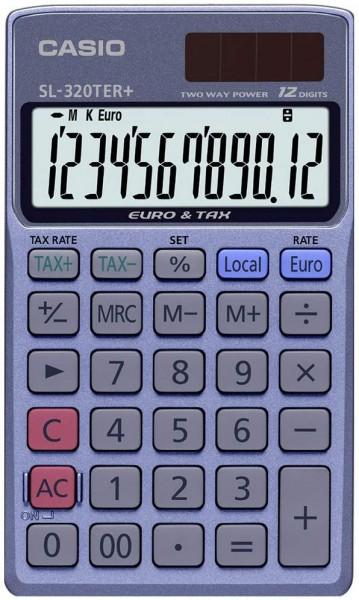 CASIO SL-320TER+ Taschenrechner 12-stellig Solar/Batterie, Währungsumrechnung, Steuerberechnung