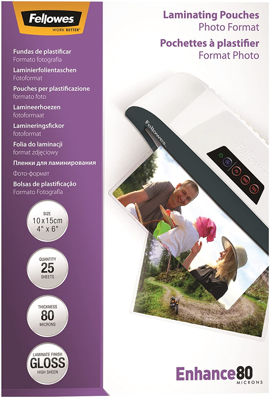 Fellowes Enhance Foto-Laminiertaschen 10 x 15 cm 80 Mikron 25 Stück