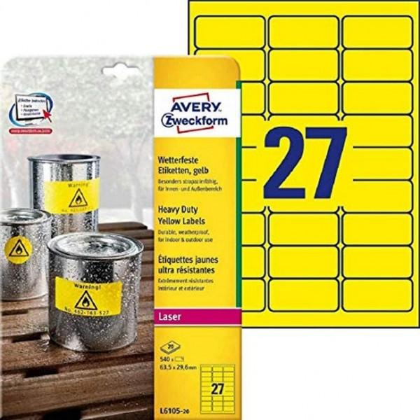 AVERY Zweckform L6105-20 Wetterfeste Folienetiketten (63,5x29,6 mm auf DIN A4, extrem stark selbstkl