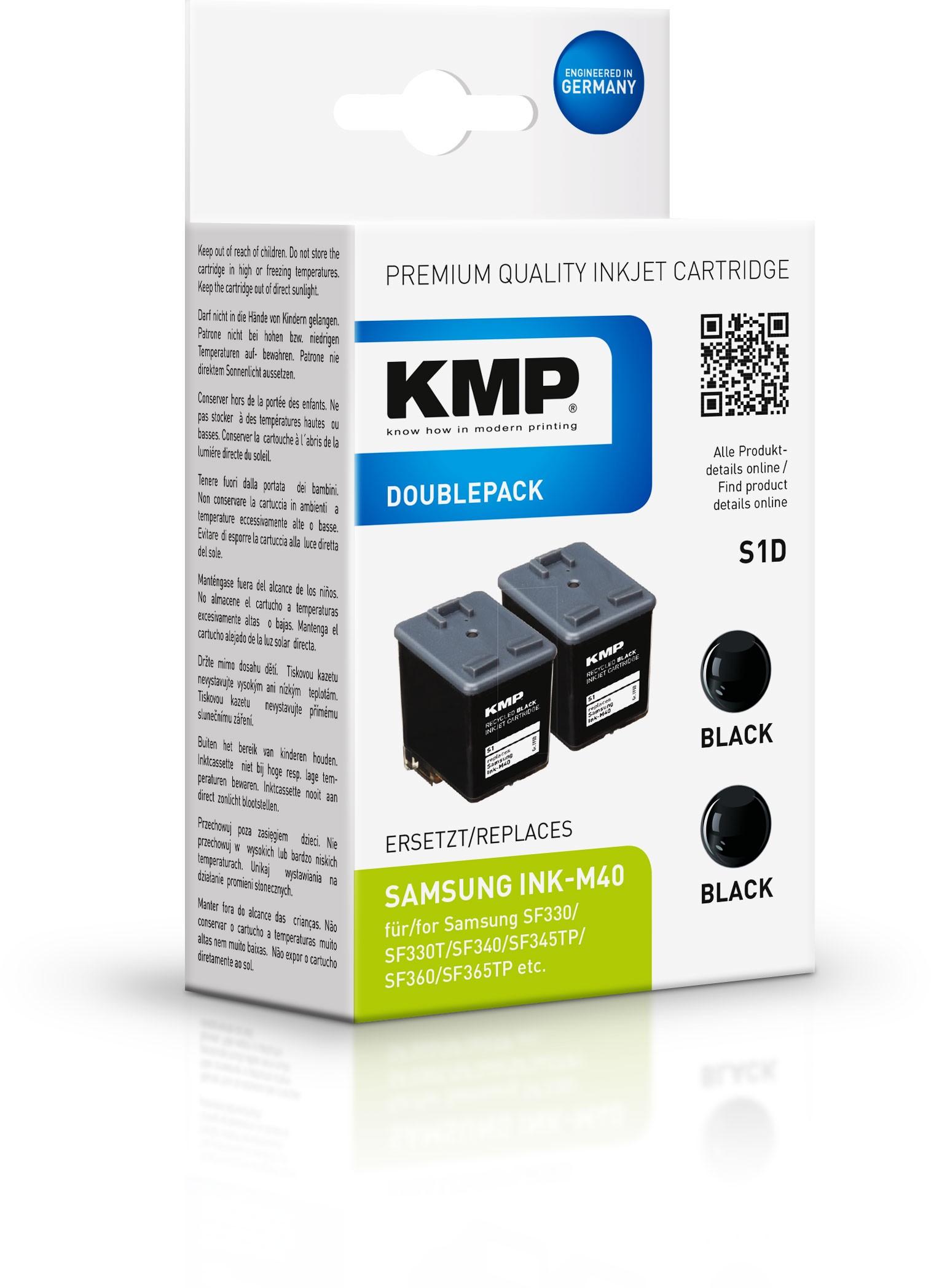 KMP Doppelpack S1D komp. zu Ink-M40 für Samsung SF-330 schwarz