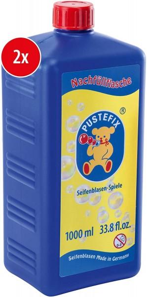 Pustefix Nachfüllflasche Maxi I 2 x 1000 ml Seifenblasenflüssigkeit I Bubbles Made in Germany I Seif