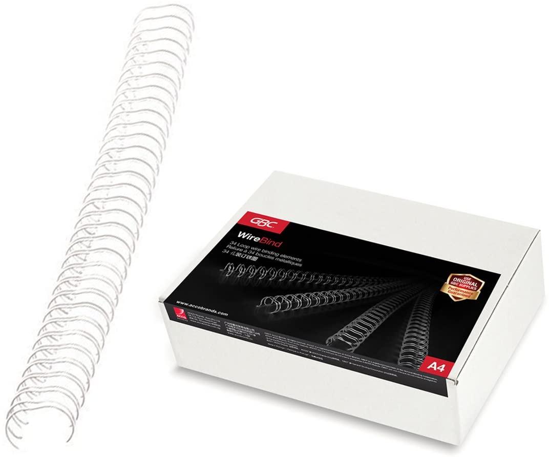 GBC Drahtbinderücken - A4, Nr.4, 6 mm/55 Blatt, 100 Stück, silber