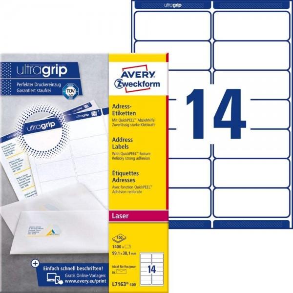 AVERY Zweckform L7163-100 Adressetiketten/Adressaufkleber (1.400 Etiketten mit ultragrip, 99,1x38,1m