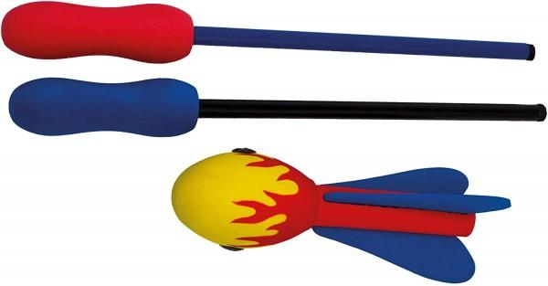 Paul Günther 1551 - Wurfspiel Zooom Rocket, pfeifendes Raketenspiel mit Schleudergriff für 1 - 2 Per