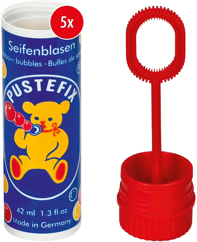 Pustefix Seifenblasen Set I 5 x Kleinpackung Klassik I Bunte Rainbow Bubbles Made in Germany I Seife