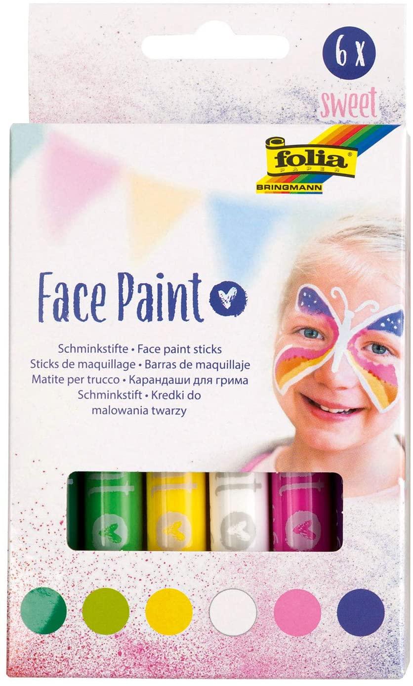 folia 380601 - Face Paint Schminkstifte Sweet, 6 farbig sortierte Stifte für Kinder, dermatologisch