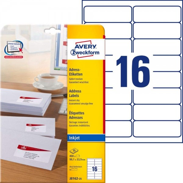 AVERY Zweckform J8162-25 Adressetiketten/Adressaufkleber (400 Etiketten, 99,1x33,9mm auf A4, bedruck