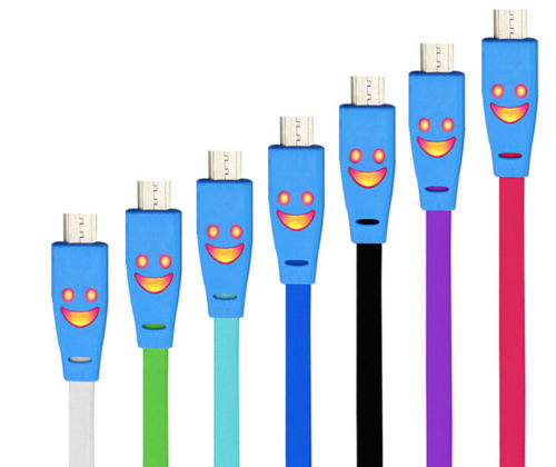 Leuchtendes Ladekabel mit Smilie für Samsung / HTC Handys USB Kabel in ver. Farb